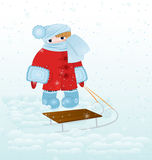 Cartoon kid with snow vector Royalty Free Stock Photo