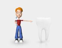 Cartoon kid and toothbrush Stock Image