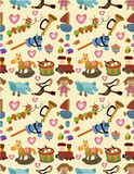 Cartoon kid toy seamless pattern. Drawing Royalty Free Stock Photos