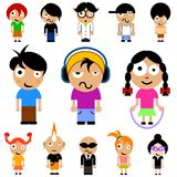 Cartoon kid vector. Cartoon character kids vector set Royalty Free Stock Photo