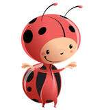 Cartoon kid wearing funny ladybug costume. Cartoon vector illustration with child in funny red lady bug suit with antennas and black dots pattern Stock Image