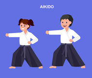 Cartoon kid wearing kimono, martial art. Cute vector character child. Illustration for martial art aikido poster. Kid wearing kimono and training aikido. Vector Stock Photography