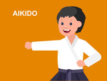 Cartoon kid wearing kimono, martial art. Cute vector character child. Illustration for martial art aikido poster. Kid wearing kimono and training aikido. Vector Royalty Free Stock Images
