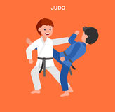 Cartoon kid wearing kimono, martial art. Cute vector character child. Illustration for martial art judo poster. Kid wearing kimono and training judo. Vector fun Stock Photography