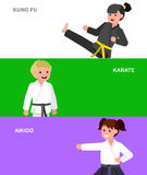 Cartoon kid wearing kimono, martial art. Cute vector character child. Illustration for martial art karate, aikido, kung fu. Kid wearing kimono and training Stock Image