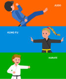 Cartoon kid wearing kimono, martial art. Cute vector character child. Illustration for martial art karate, judo, kung fu. Kid wearing kimono and training Stock Images