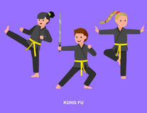 Cartoon kid wearing kimono, martial art. Cute vector character child. Illustration for martial art kung fu poster. Kid wearing kimono and training kung fu Royalty Free Stock Photo
