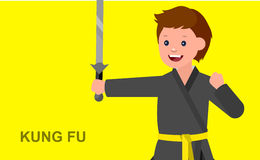 Cartoon kid wearing kimono, martial art. Cute vector character child. Illustration for martial art kung fu poster. Kid wearing kimono and training kung fu Stock Photo