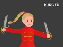 Cartoon kid wearing kimono, martial art. Cute vector character child. Illustration for martial art kung fu poster. Kid wearing kimono and training kung fu Royalty Free Stock Image