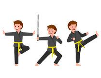 Cartoon kid wearing kimono, martial art. Cute vector character child. Illustration for martial art kung fu poster. Kid wearing kimono and training kung fu Stock Photography