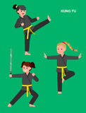 Cartoon kid wearing kimono, martial art. Cute vector character child. Illustration for martial art kung fu poster. Kid wearing kimono and training kung fu Royalty Free Stock Photos
