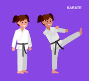 Cartoon kid wearing kimono, martial art Stock Photography