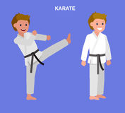 Cartoon kid wearing kimono, martial art. Cute vector character child. Illustration for martial art poster. Kid wearing kimono and karate training Royalty Free Stock Photography