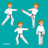Cartoon kid wearing kimono, martial art. Cute vector character child . Illustration for martial art poster. Kid wearing kimono and karate training. Vector fun Royalty Free Stock Image