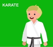 Cartoon kid wearing kimono, martial art. Cute vector character child . Illustration for martial art poster. Kid wearing kimono and karate training. Vector fun Stock Photo