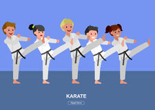 Cartoon kid wearing kimono, martial art. Cute vector character child . Illustration for martial art poster. Kid wearing kimono and karate training. Vector fun Stock Photography