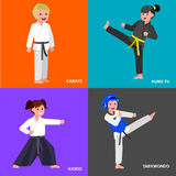 Cartoon kid wearing kimono, martial art. Cute vector character child. Illustration for martial art taekwondo, karate, aikido, kung fu. Kid wearing kimono and royalty free illustration