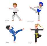 Cartoon kid wearing kimono, martial art. Cute vector character child. Illustration for martial art taekwondo, karate, judo, kung fu. Kid wearing kimono and vector illustration