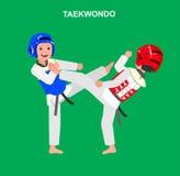 Cartoon kid wearing kimono, martial art. Cute vector character child and taekwondo. Illustration for martial art poster. Kid wearing kimono and taekwondo Royalty Free Stock Image