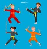 Cartoon kid wearing kimono, martial art. Cute vector character kid Shaolin monk. Illustration for martial art kung fu poster. Kid wearing kimono and training royalty free illustration