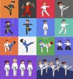 Cartoon kid wearing kimono, martial art kimono. Cute vector character kid Shaolin monk. Illustration for martial art kung fu poster. Kid wearing kimono and vector illustration