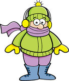Cartoon kid wearing Winter clothing. Royalty Free Stock Photos