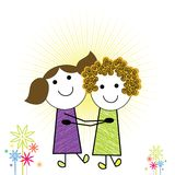 Cartoon kids. Sisters or friends having fun being happy Royalty Free Stock Photography