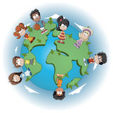 Cartoon kids. Cute happy cartoon kids over earth planet Stock Images