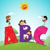 Cartoon kids with ABC letters. Cartoon kids and ABC letters . School concept. Vector stock illustration