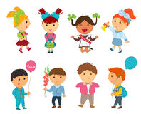 Cartoon kids back to school. Vector illustration for first september Stock Images