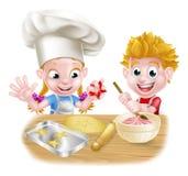 Cartoon Kids Baking Royalty Free Stock Image