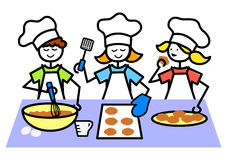 Cartoon Kids Baking Cookies/eps Stock Images