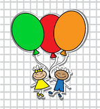 Cartoon kids with balloons Royalty Free Stock Photography