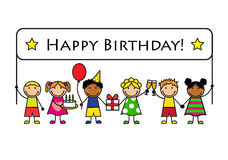 Cartoon kids with a banner birthday Stock Image