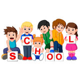 Cartoon kids with blank sign Royalty Free Stock Photo