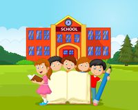 Cartoon kids with book and pencil. Illustration of Cartoon kids with book and pencil Royalty Free Stock Photography