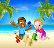 Cartoon Kids Building Sandcastles Royalty Free Stock Image