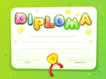cartoon kids certificate diploma template vector illustration
