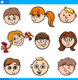 Cartoon kids characters faces set Stock Image