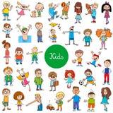 Cartoon kids characters large set stock illustration