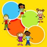 Cartoon kids and color circles-2 vector illustration