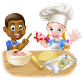 Cartoon Kids Cooking Royalty Free Stock Photography
