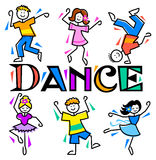 Cartoon Kids Dance/eps. Cartoon children dancing different styles with the headline DANCE Royalty Free Stock Images
