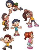 Cartoon kids with different actions royalty free illustration