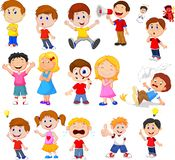 Cartoon kids with different expression royalty free illustration