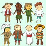 Cartoon kids in different   traditional costumes Stock Photo