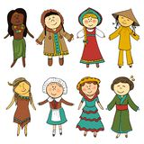 Cartoon kids in different traditional costumes Stock Image
