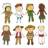 Cartoon kids in different traditional costumes Royalty Free Stock Image
