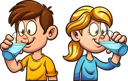 Cartoon kids drinking water. Cute cartoon boy and girl drinking water. Vector clip art illustration with simple gradients. Each on a separate layer royalty free illustration