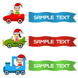 Cartoon kids driving toy vehicle with message flag Stock Image